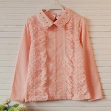 Girls Lace T-shirts 2014 Autumn Fashion Brand High-grade Pearl Floral Lapel Long sleeve Shirts 5pcs/lot lye(China (Mainland))