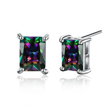 2016 Hot White Gold Plated Cute Earring Studs For Women Best Friends Shine Rainbow CZ Ear Rings Christmas Gift Wedding Jewelry