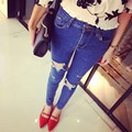 2017 High Waist plus Size Jeans Women Skinny Pencil Pants Denim Ripped Boyfriend Jeans With Holes