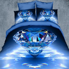 Hot! European painting personalized 4pcs cotton HD 3d printing bedding sets blue ocean duvet cover sheet(China (Mainland))