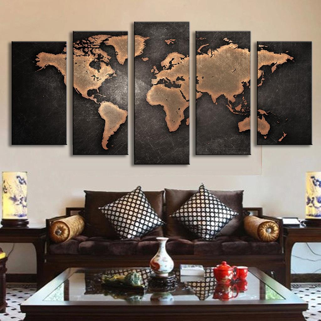 5 pcs set modern abstract wall art painting world map for Wall art sets for living room