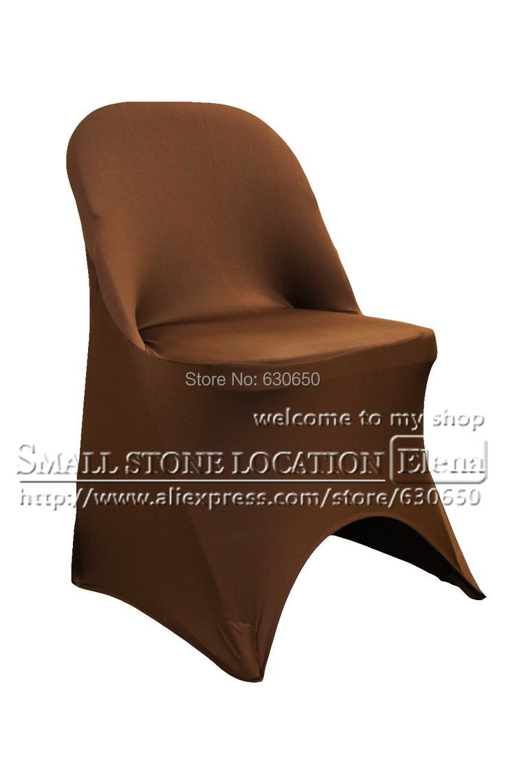 free shipping brown spandex folding chair cover(China (Mainland))