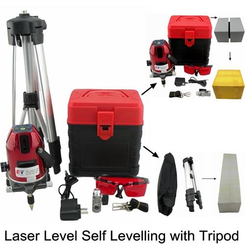 Rotary Laser Level Tripod Slash Function Cross Level Laser 635nM Leveler 3 Lines 4 Points Euro Plug Lazer Level With Outdoor(China (Mainland))