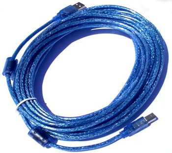 Transparent blue 10M USB printer cable With two ferrite