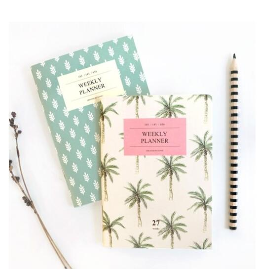 Cute Korean Design A6 Mini Weekly Planner 56P Mint Palm Tree 2016 PVC Cover - KiMagic Store store