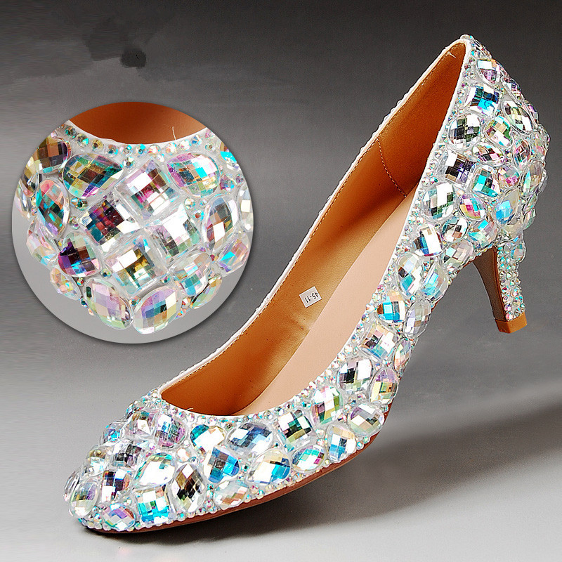 2015 new wedding shoes fashion colorful rhinestone dress