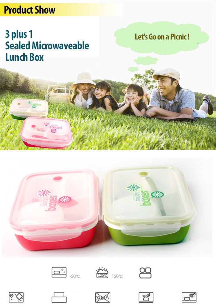 Buy East sealed microwave lunch box 3 plus 1 bento box office For kids children school with fresh style simplicity dinnerware sets cheap