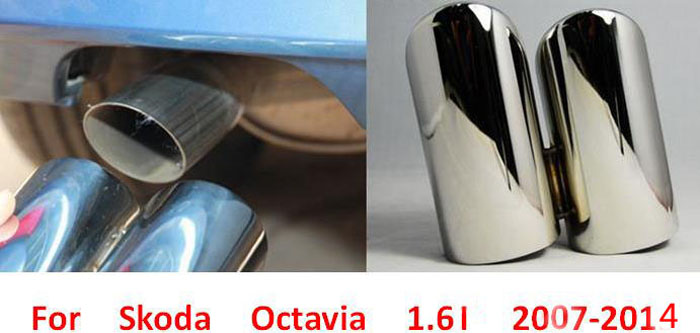Exterior Accessory 304 stainless steel exhaust tip tail rear end pipe muffler for skoda OCTAVIA 1.6L 2007 2011 2012 2013 2014