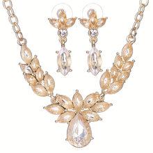 CWEEL פרח חתונה אפריקאית חרוז תכשיטי סט תכשיטי סטים לנשים אופנה זהב-צבע דובאי ריינסטון שרשרת עגילים(China)
