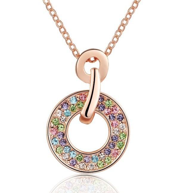 Multicolored Crystal Round Shape Circle Necklace Pendant Wedding Fashion Jewelry Necklace Made With Swarovski Elements NXL0073
