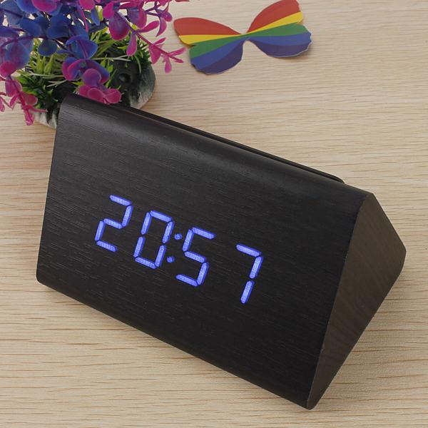 New Black Wood Triangular Blue LED Alarm Digital Desk Clock Wooden Thermometer FREE SHIPPING(China (Mainland))