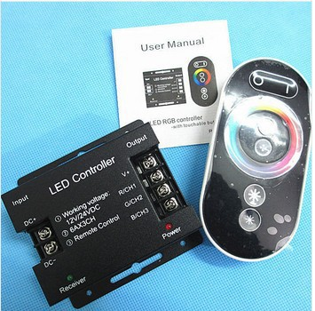 12-24V 18A Wireless rgb controller RF touch Panel Remote control for 5050 3528 RGB led strip New Free shipping(China (Mainland))
