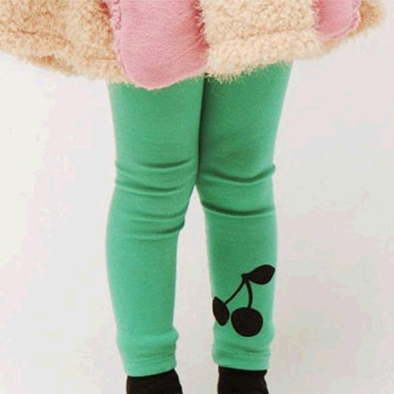 Baby Kids Girl Cherry Printed Warm Stretchy Leggings Trousers Toddler Pant