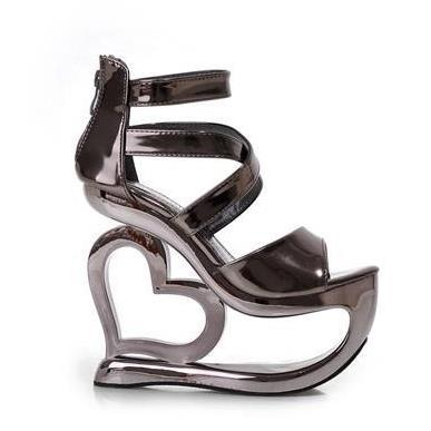 2015 fashion summer New Gladiator women sandals 15cm strange high heels wedges party nightclub casual shoes <br><br>Aliexpress
