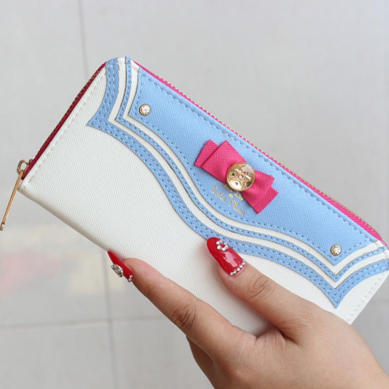 Brand designer Sailor Moon Ladies Long Zipper Female Bag Women Leather Kawaii Pink Wallet Purse Portefeuille Femme Card Holder(China (Mainland))