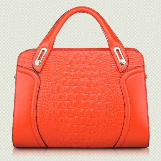 Фотография Genuine leather Crocodile grain multi-function fashion handbag One shoulder inclined shoulder bag Cowhide contracted women bag