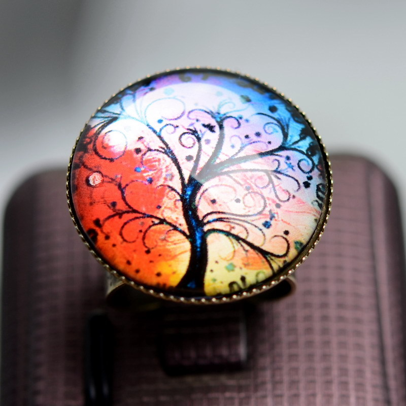 vintage acrylic ring antique round new promotion tree art picture ring jewelry handmade round glass adjustable ring(China (Mainland))