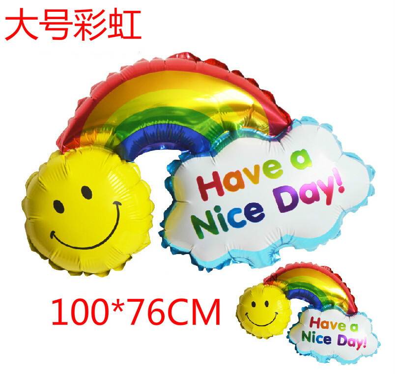 5pcs/lot Large Smile Face Rainbow Foil Balloons 39inch sun mylar baloes Happy Birthday Wedding Globos Have A Nice Day balls(China (Mainland))