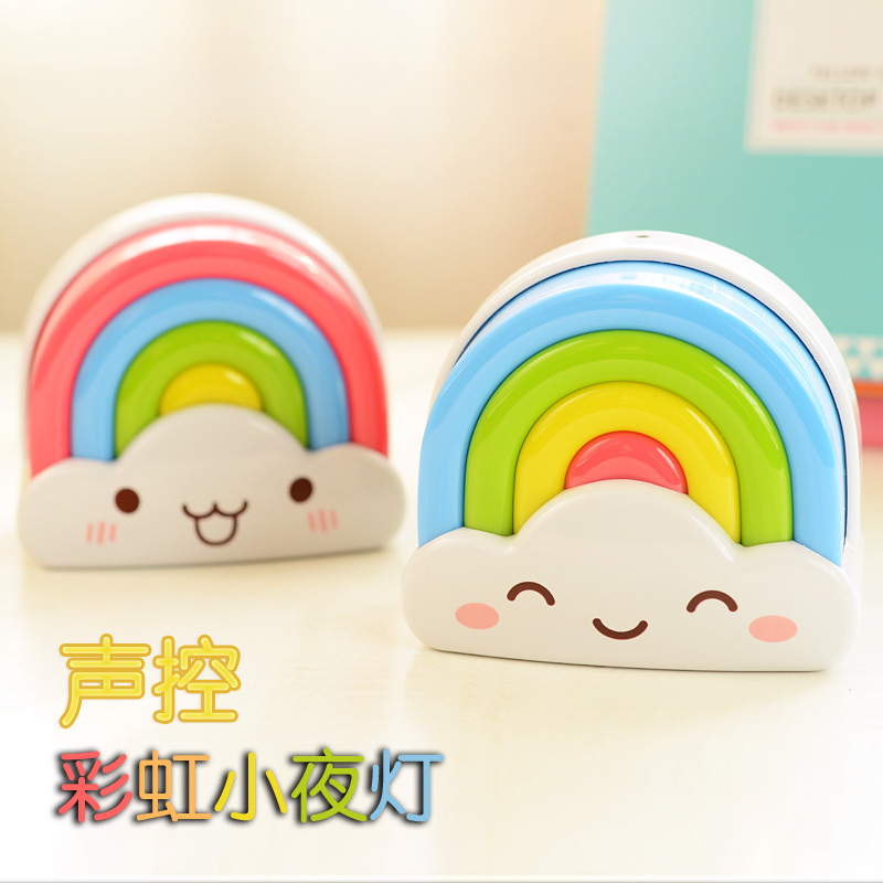 cute nightlights  rainbow  led lamps  220V  lover children toys 7 colors light feeling sound control<br><br>Aliexpress