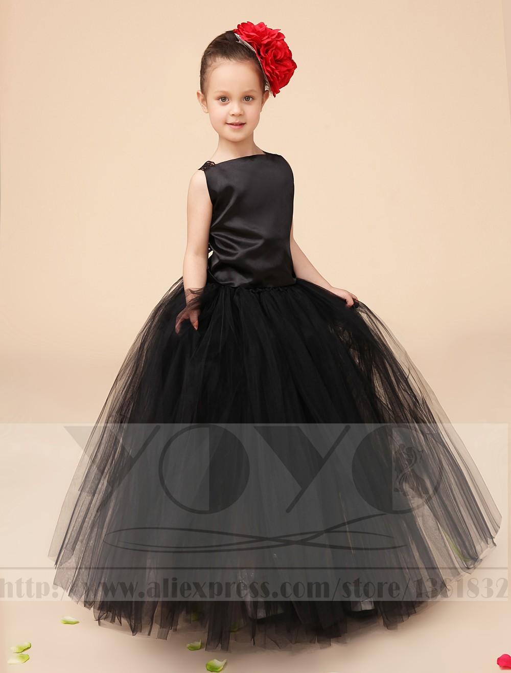 Скидки на Дань Шелк, тюль черные маленькие девочки платья дети девушки формальные платья партии Pageant платья [головной убор включен]