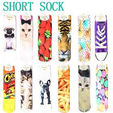 2015 New Fashion  japan Harajuku socks Men Women Multiple Colors 3D Printed Animal Patterns Cute Unisex Cotton High Socks