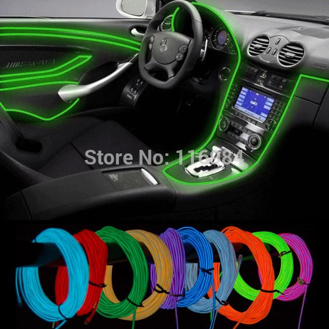 1Meter EL Wire Rope Tube Flexible Neon Light Glow Party Dance Car Decorate Colorful (not include drive controller)(China (Mainland))