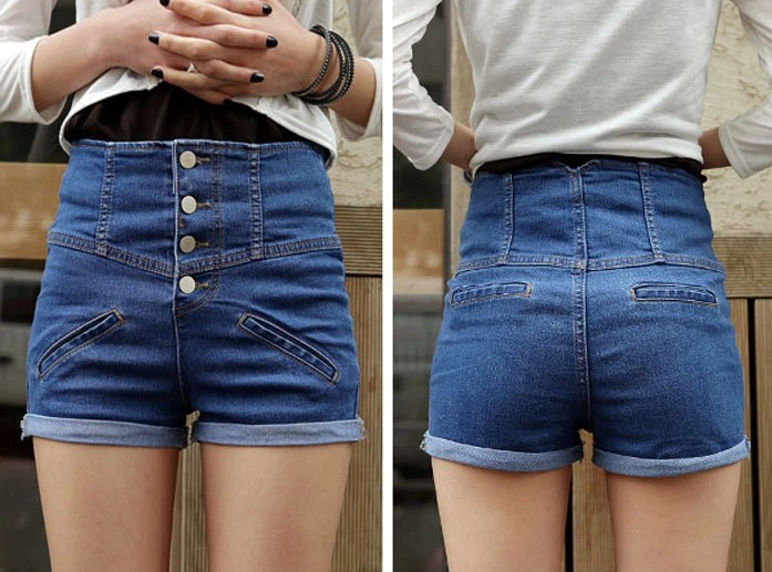 High Waisted Denim Shorts For Women - The Else