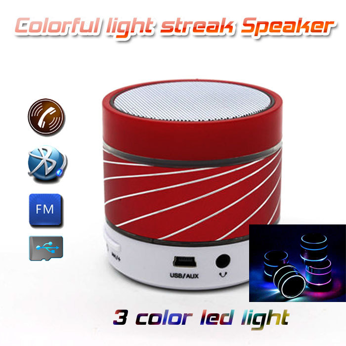 s07u colorful led light speaker with 3 colors light and beautiful streak with FM Radio TF card for Phone/Laptop/pc(China (Mainland))