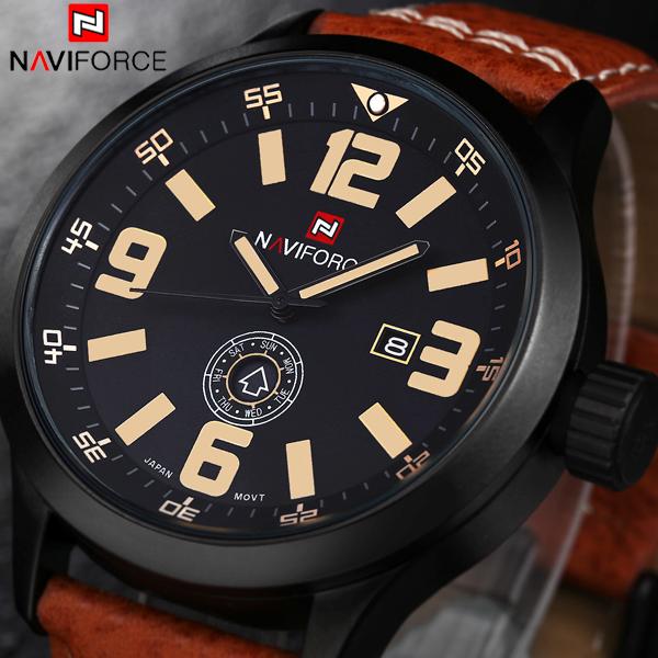 Brand NAVIFORCE Relogio Masculino Date Day Clock Men Leather Strap Wrist Military Sports Watch Men Fashion Casual Quartz Watch(China (Mainland))