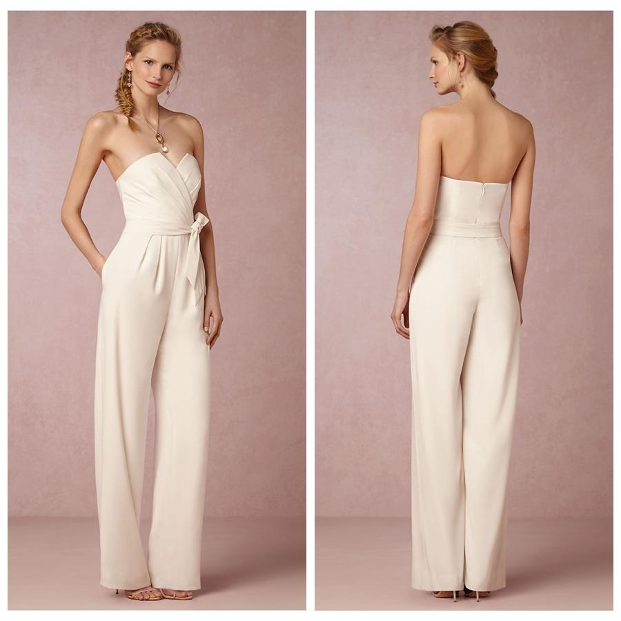 Ivory chiffon reception jumpsuit for bridal wedding after for Bride dress after wedding