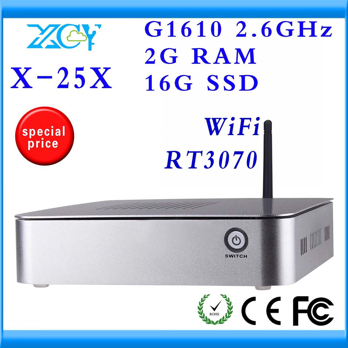 thin client cheap mini pc station computer network XCY X-25X INTEL H61 Chipset no noise and less heat(China (Mainland))