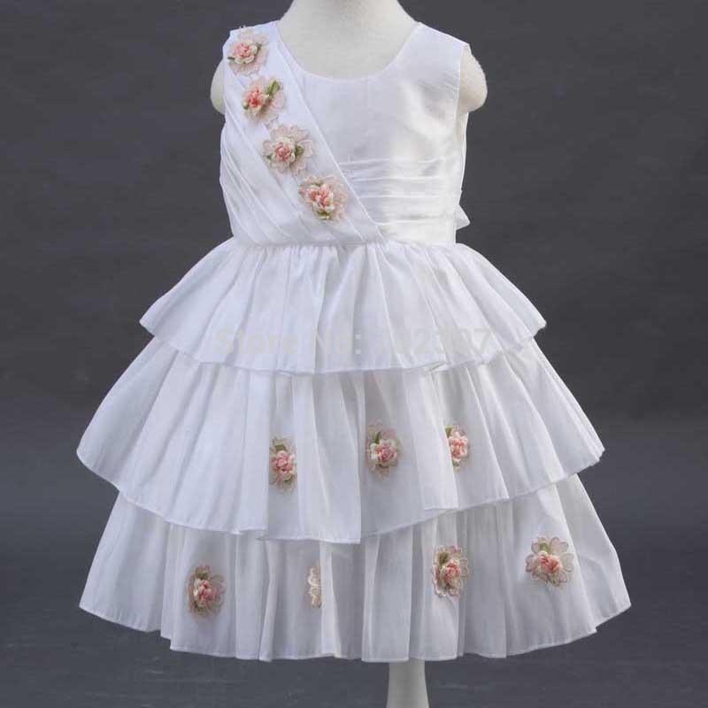 2015 Gorgeous colorful floral qppliques decorate 2015 girls summer fashion layered dress 12pcs/lot free DHL 150375<br>
