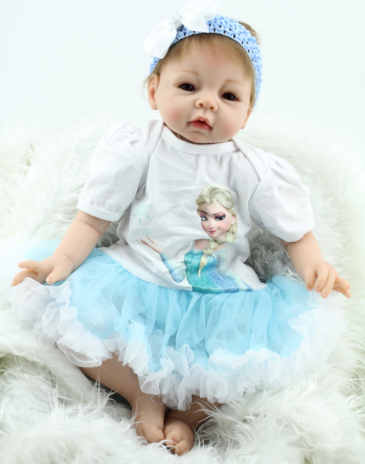 22 inch 55cm  silicone reborn baby dolls cute real Girls soft silicone baby alive boneca Christmas Gift Baby Toys