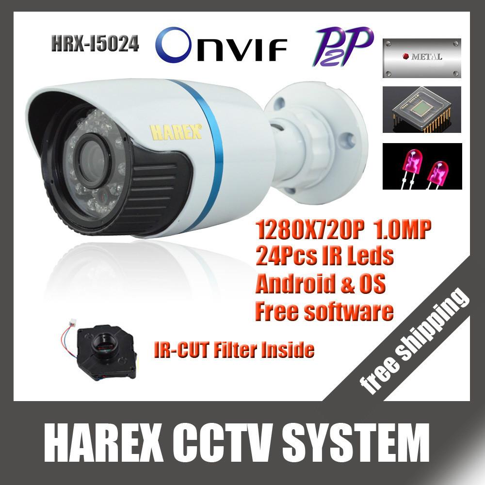 1280*720P 1.0MP Mini Bullet IP Camera ONVIF 2.0 Waterproof Outdoor IR CUT Night Vision P2P Plug and Play, free shipping(China (Mainland))