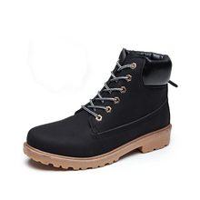 Nuovo 2018 autunno donne di inverno della caviglia stivali di pelle piattaforma martin stivali antiscivolo scarpe delle donne di inverno stivali da neve caldo(China)