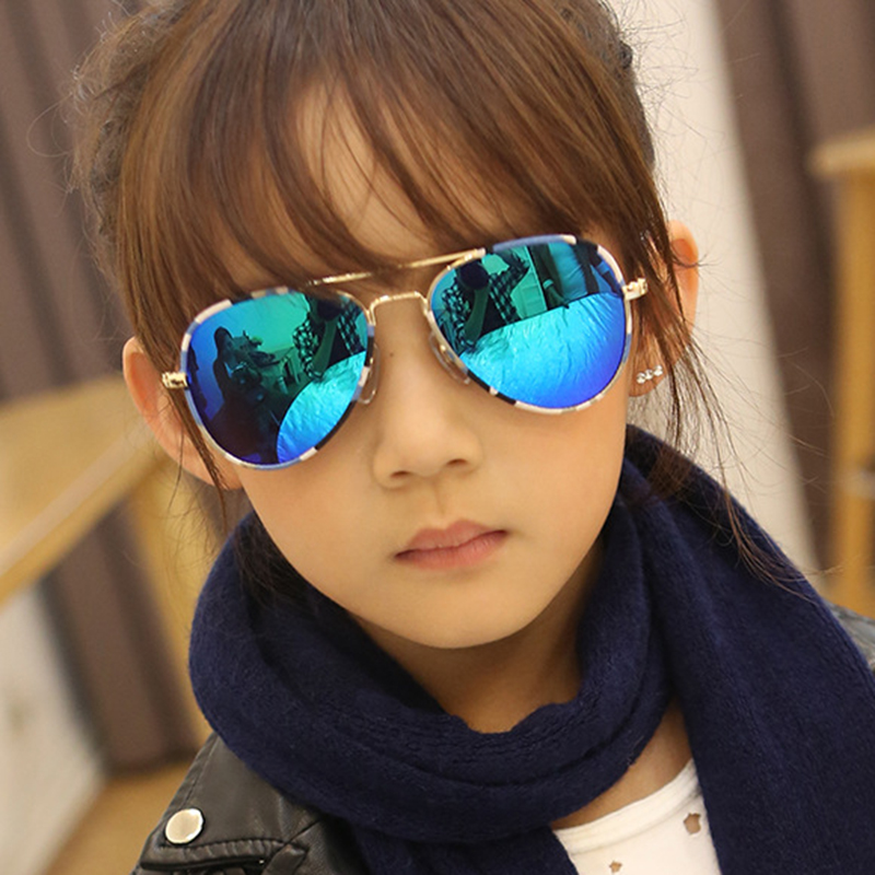 2016 Fashion Kids Sunglasses Brand Designer Pilot Sun Glasses Boys&Girls Baby Suitable For Children Aged 8-12 UV400 Oculos RS136