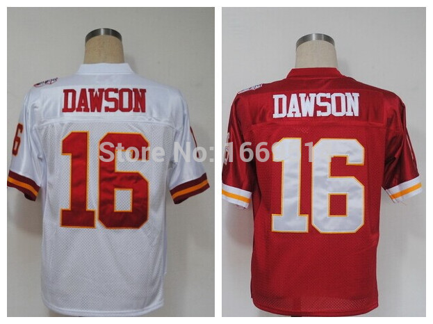 16 Len Dawson Red/White Men's 2015 Throwback Embroidery/Sewing logos Football Jerseys Cheap Sale wholesale!(China (Mainland))