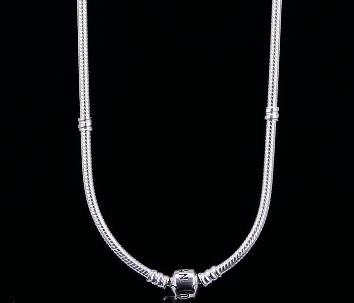45cm DIY 925 Sterling Silver Snake Chain Necklace For original Pandora Style Charms necklace jewelry(China (Mainland))