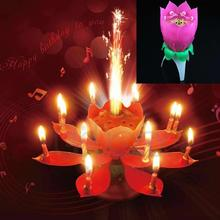 Hot-selling New Musical Spin Flower Party Gift Rotating Sparkler Cake Topper Birthday Candle free shipping-J117