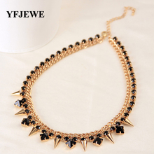 Buy YFJEWE New Style Fashion Jewelry women black rhinstone crystal Gold Color Necklace chain rivets Party Accessories #N029 for $2.65 in AliExpress store