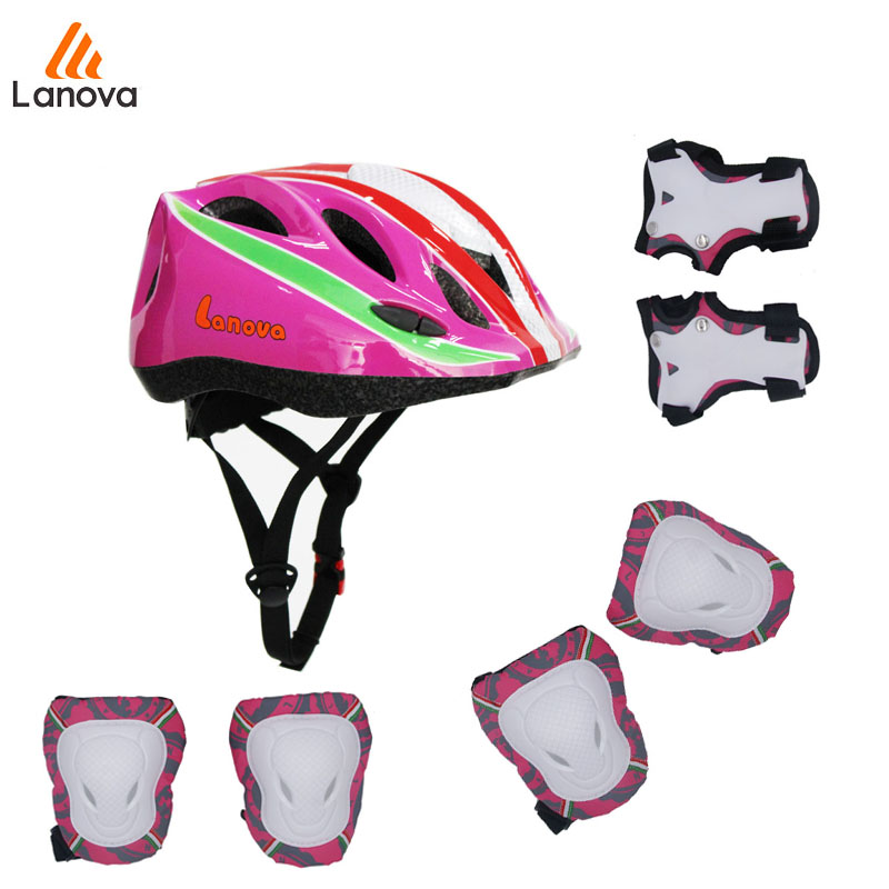LANOVA 7 pcs/set Skateboard Protective Gear Sets Elbow pads Knee Protector Wristguard Bicycle Helmet Ice Skating Roller For Kid(China (Mainland))