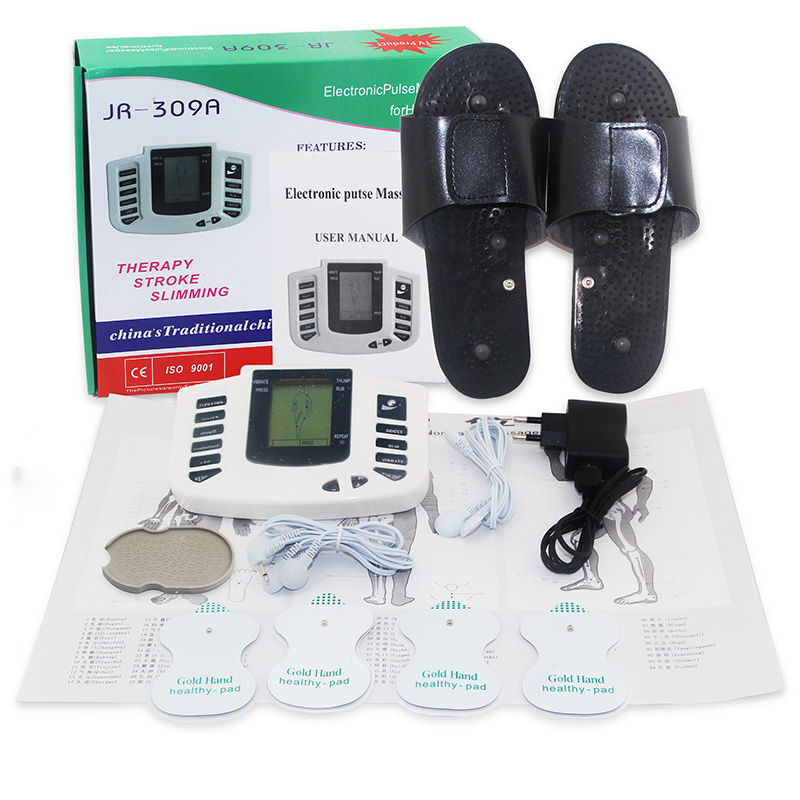 Health Care! JR-309 New Electrical Stimulator Full Body Relax Muscle Massager,Pulse tens Acupuncture with therapy slipper+ 4pads<br><br>Aliexpress