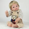 55cm full body silicone reborn dolls Lifelike Reborn Babies blond hair wig blue eyes girl boy