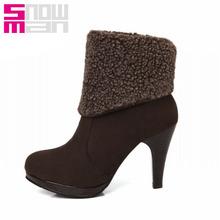 2 Styles Fashion Lamb Fur Short Boots High Heels Platform Shoes Woman Autumn Winter Boots Zapatos Mujer 2015 Botas Femininas