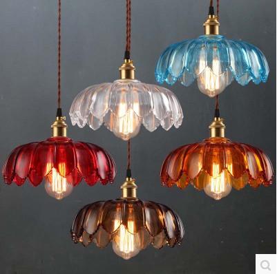 Фотография Nordic Glass Shade Chandelier Retro Nostalgia of Restaurant Bar Cafe Single Head Light
