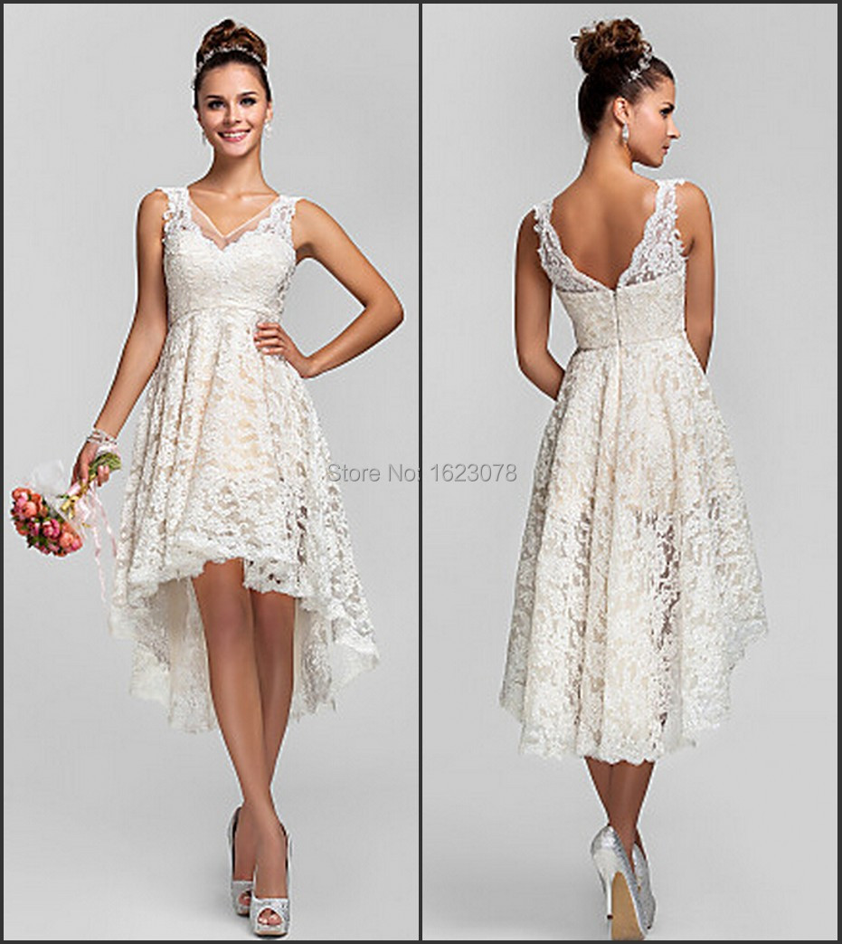 2015 ivory high low a line lace bridesmaid dresses v neck for Knee high wedding dresses