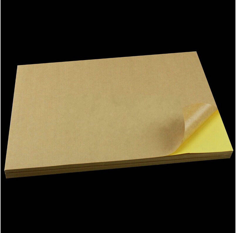 100 Sheets/lot A4 Sticky Kraft Paper, Self adhesive A4 Blank Kraft Label Paper for Laser Inkjet Printer Packaging Label OP009(China (Mainland))