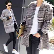 2015 winter coat Korean windbreaker Plaid original single retro loose big yards woolen coat(China (Mainland))