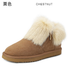 INOE 2016 nuevas muchachas grandes de piel de conejo de cuero partido de la vaca invierno corto botas de nieve del tobillo para las mujeres zapatos de invierno con cremallera(China (Mainland))