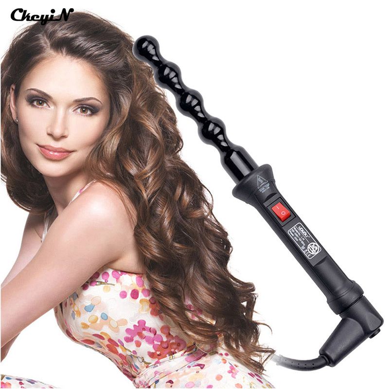 110-240V Electric Ceramic Bead Curling Wand Bead Hair Curler Roller Styler with 360 Swivel Cord HS47-P5052(China (Mainland))